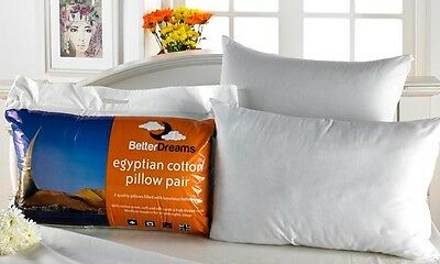 2 Pack 100% Egyptian Cotton High Thread Count Betterdreams Pillows With Free P&P