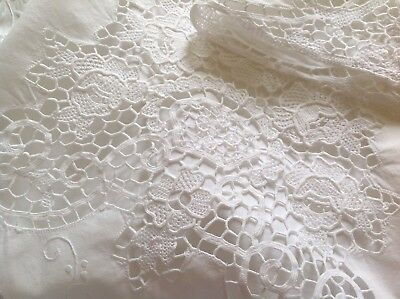Vintage Hand Embroidered White Cotton Needlework Lace Top Sheet 90x100 Inches