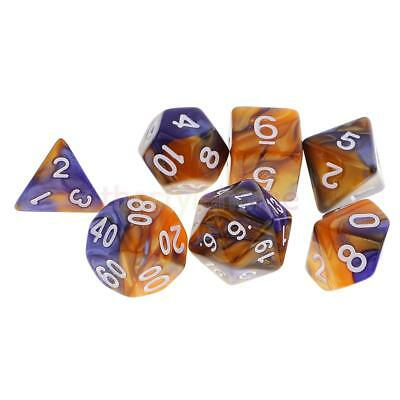 MagiDeal 7pcs Polyhedral Dice for D&D RPG MTG Party Game Toy Set Blue Yellow