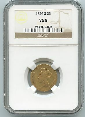 1856-S Gold $3 Indian Princess NGC VG 8