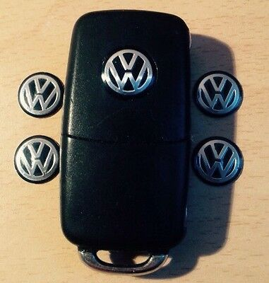 5x KEY FOB VW BADGE STICKER LOGO EMBLEM GOLF BORA PASSAT Mk5 Mk6 BLACK 14mm