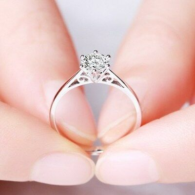 4mm/5mm Unique AAA CZ 925 Silver Band Women's Engagement Solitaire Ring Size 4-9