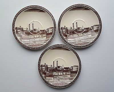 Vernon Kilns Our America LOT of 3 SAUCERS Mississippi River Barge Rockwell Kent
