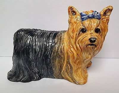 """The Townsends Ceramic LIFE SIZE 14"""" Yorkshire Terrier Dog Sculpture Pottery 1971"""