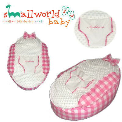 Personalised Girls Pink Gingham Baby Bean Bag (NEXT DAY DISPATCH)