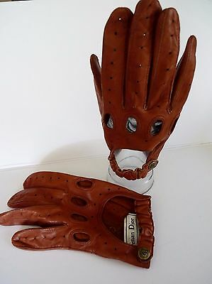 Vintage Christian Dior Men's Driving Gloves Tan Leather SMALL Good Condition