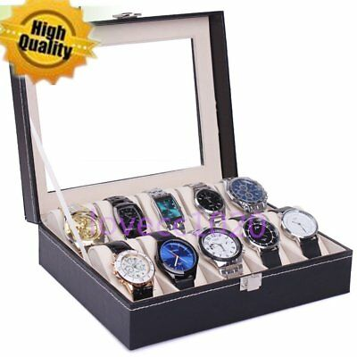 PU Leather 6/10 Slots Wrist Watch Display Box Storage Holder Organizer Case TF