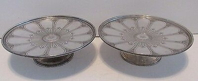 Pr TIFFANY STERLING COMPOTES  Antique Silver Art Deco Footed Salvers Tazzas Rare