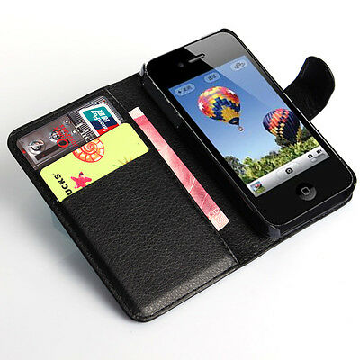 For Apple iPhone 4S 4 Genuine Flip Wallet Leather Case Cover (B53
