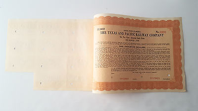 Texas and Pacific Railway Company  $1000  1925 3 year Bond specimen