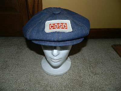 Vtg 70s NOS NEW DENIM NEWSBOY CASE TRACTOR BIG PATCH SNAP BACK HAT UNIQUE!