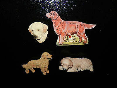 Lot of 4 Collectible Golden Retriever Refrigerator Magnets (A)