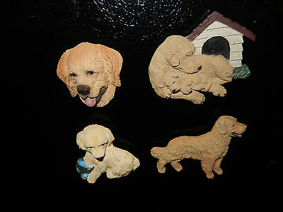 Lot of 4 Collectible Golden Retriever Refrigerator Magnets (C)
