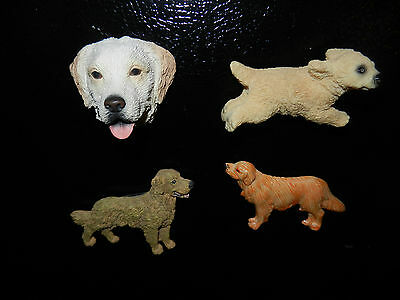 Lot of 4 Collectible Golden Retriever Refrigerator Magnets (G)