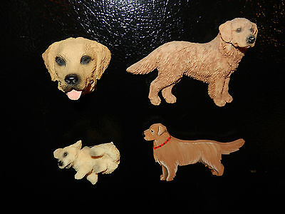 Lot of 4 Collectible Golden Retriever Refrigerator Magnets (F)