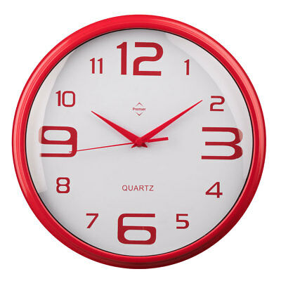 Premier Housewares Modern Home Wall Clock, Round Red Plastic, Large Numbers