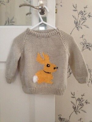 Baby Girls/boys Clothing Hand Knitted Rabbit Jumper Approx Size 12-18 Mths