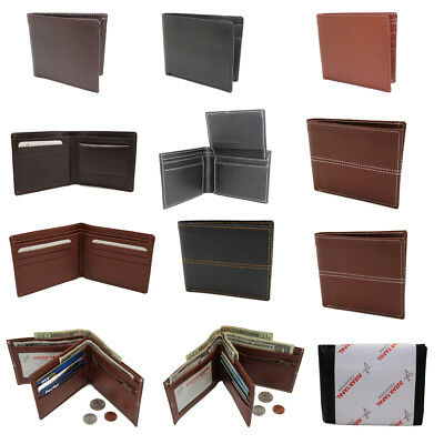 Wholesale Lot of 12 Men's Leather Bifold Wallets ID Case, Business Card Holder