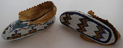 Early pre 1900's Sioux Native American fully Beaded large womans hide Moccasins