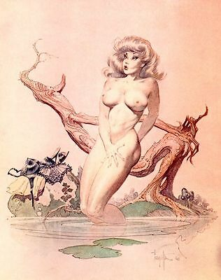 "Authentic Frank Frazetta ""GIRL BATHING""  12 X 15  #78"