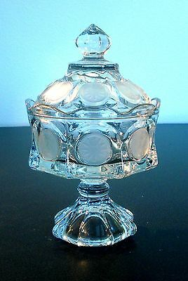 Fostoria Clear Glass Coin Glass Footed Covered Dish