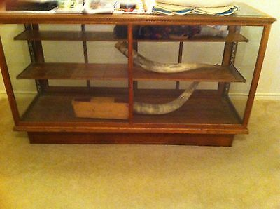 Antique 6 Foot Oak  Store Display Showcase Beveled Glass Top >Located Texas