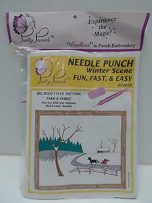 Pretty Punch Embroidery Kit Needle Winter Scene KP2020 11x15 Sleigh Horse New