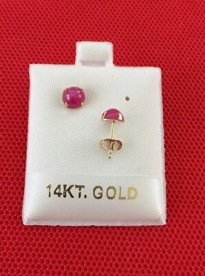 Vtg.gorgeous Genuine 14K Yellow Gold Purple Jade Dome Round Stud Earrings