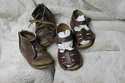 VTG Lot of 2 Pair Brown Leather Toddlers Shoes & Toddler Brown Leather Sandals