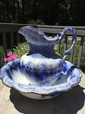 "Very Rare 1900 Flow Blue Wash Bowl & Pitcher Vanity Set, ""Belmont"" Pattern, Eng"