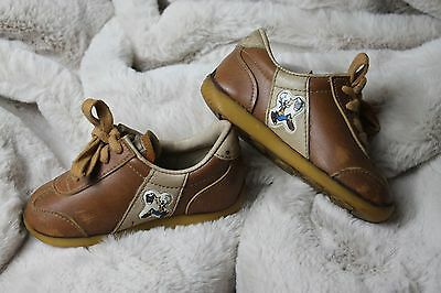 Disney Pals Shoes by Disney Productions Mickey Mouse and Goofy Brown Leather