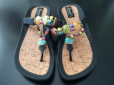 7a8900e9a63e49 GRANDCO DRESSY Beach Pool Thong BLING Color Beads BLACK THONG Sandals Flip  Flops