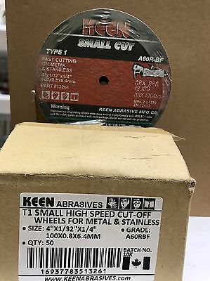 """Pack of 50, Keen #13261, 4"""" x 1/32"""" x 1/4"""" Metal Stainless Cut Off Wheels"""