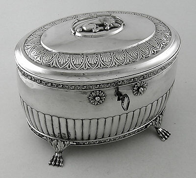 Sterling Scandinavian large tea caddy with key (First half 19th Century)