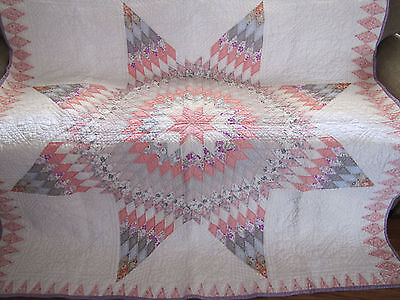 Rare Lone Star Quilt Feed Sack Prints Approx 1930's Sawtooth & Diamond Borders
