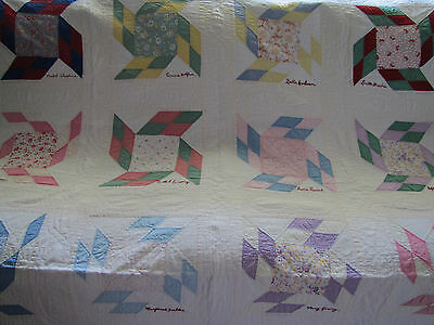 Rare Signature Friendship Quilt White & Feed Sack & Solid Prints Approx 1930's