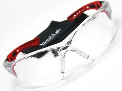 BOLLE Black Red RUSH Clear Polycarbonate Lens SAFETY Glasses New! 41080