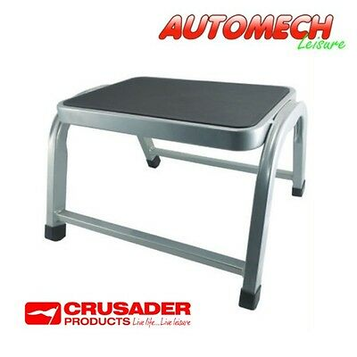 Crusader Quality Single Steel Frame Step, Non Slip Tread,Caravan Motorhome (721)