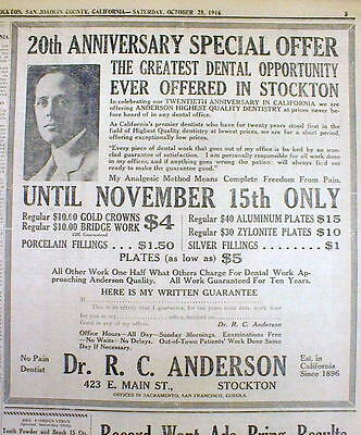 1916 Stockton CALIFORNIA newspaper Large DENTIST AD w prices for TEETH SERVICES