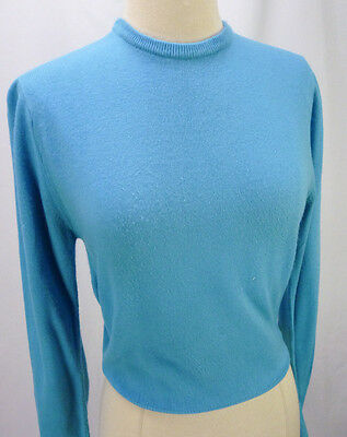 Vintage 50s Sears Turquiose Blue Soft Acrylic Pullover Crewneck Pinup Sweater S