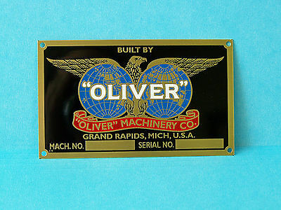 OLIVER  WOODWORKING  - Machinery Nameplate
