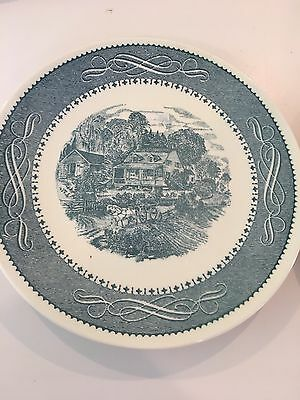 Taylor, Smith & Taylor 2 CURRIER & IVES BLUE & WHITE DINNER PLATES