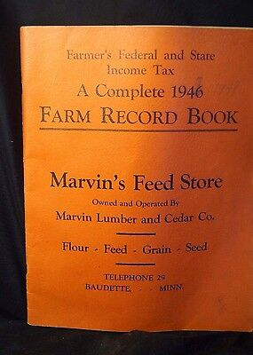 1946 Farm Record Book Marvin's Feed Store Advertising Feed Grain Seed