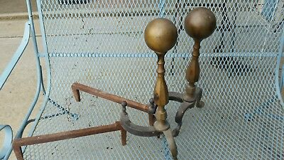 VTG Set Of Cast Iron/Brass Fireplace Andirons Fire Dogs Mid Century CANNONBALLS