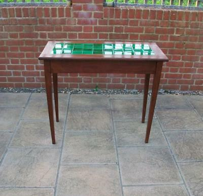Long ARTS & CRAFTS MAHOGANY GREEN TILED TOP HALL / SIDE / OCASSIONAL TABLE