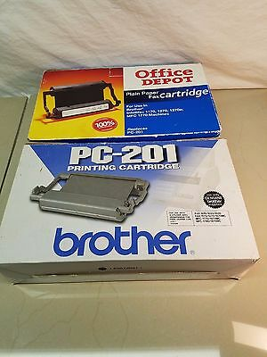 2 PC-201 Printing Cartridges  ~ 1 Genuine Brother  & 1 Office Max ~ Both Sealed