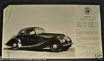 1946 1947 1948 Bristol Type 400 Sales Brochure Sheet Original