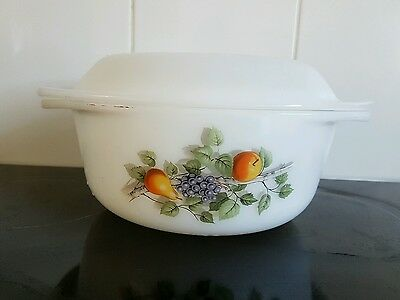 Vintage Arcopal Casserole Dish with Lid fruit pattern