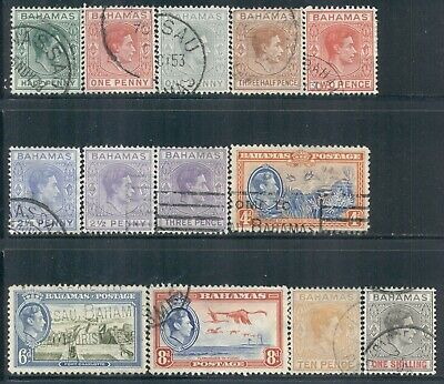 BAHAMAS 100,101A-02,103B-04A,107-08,110 SG149-60 Used 1938-46 KGVI short Cat$14