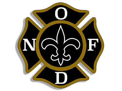 4x4 inch Maltese Shaped NOFD New Orleans Fire Dept Sticker - logo firefighter la